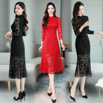 Dress / evening wear Wedding, adulthood, party, company annual meeting, performance, routine, appointment M,L,XL,2XL,3XL Red, black Retro Medium length middle-waisted Spring 2021 Self cultivation Lace Long sleeves Solid color Other / other routine