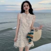 Dress Summer 2021 Apricot, blue S,M,L,XL Short skirt singleton  Sleeveless commute Half high collar Loose waist Solid color A button A-line skirt other Others 18-24 years old Type A Retro Lace polyester fiber