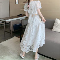 Dress Summer 2021 white S,M,L longuette singleton  Short sleeve commute Crew neck High waist Solid color Socket Princess Dress puff sleeve Others 18-24 years old Type A lady Bandage 31% (inclusive) - 50% (inclusive) Chiffon polyester fiber