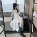 Dress Summer 2021 white S,M,L Mid length dress singleton  Short sleeve commute Crew neck High waist Solid color Socket Irregular skirt routine Others 18-24 years old Type A Korean version brocade cotton