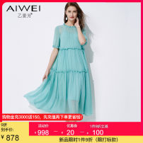 Dress Summer 2021 Blue S M L XL 2XL Mid length dress singleton  Short sleeve commute Crew neck High waist Solid color Socket A-line skirt routine 30-34 years old Type A B love for lady Pleated Auricularia auricula splicing AW443212L2162 More than 95% silk Mulberry silk 100%