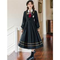 Dress Spring 2021 White shirt with black JK dress S,M,L,XL longuette Two piece set Long sleeves Sweet Admiral High waist Solid color Socket Pleated skirt routine Others 18-24 years old Type A Other / other 51% (inclusive) - 70% (inclusive) brocade college