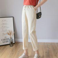 Casual pants S14-l-khaki, p47-p-black, H58 pink, u36-j-navy, p35 orange, A70 MINT S. M, l, XL, XXL Spring of 2019 Ninth pants High waist Thin money 25-29 years old 91% (inclusive) - 95% (inclusive) R54880 Other / other hemp