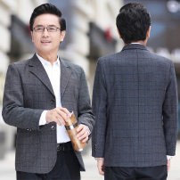 man 's suit New European clothes Business gentleman routine standard Double breasted Other leisure No slits middle age Long sleeves Four seasons routine Business Casual Casual clothes Flat lapel other lattice Regular collar (collar width 7-9cm) 2020 Three dimensional bag No iron treatment