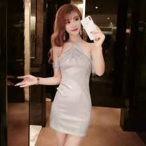 Dress Spring of 2019 Gray (picture color) S,M,L Short skirt singleton  Sleeveless commute One word collar High waist Solid color Socket One pace skirt other Hanging neck style 18-24 years old Type H Other / other Korean version Backless, asymmetric G53622# More than 95% brocade polyester fiber