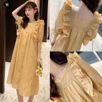 Dress VSETAMELLE M,L,XL,XXL Korean version Short sleeve Medium length summer square neck Solid color Cotton and hemp