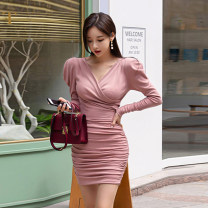 Dress Winter of 2019 Pink S,M,L,XL Short skirt singleton  Long sleeves commute V-neck Elastic waist Solid color Socket puff sleeve Others 25-29 years old Type X Nuture one / nitsville 51% (inclusive) - 70% (inclusive) other cotton