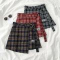 skirt Spring 2021 S [90-100kg], m [100-110kg], l [110-120kg], XL [120-135kg], 2XL [135-150kg], 3XL [150-165kg], 4XL [165-175kg], 5XL [175-200kg] Short skirt commute High waist A-line skirt lattice 18-24 years old 51% (inclusive) - 70% (inclusive) cotton Korean version