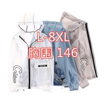 Jacket Other / other Youth fashion White 808, blue 808, gray 808 L,XL,2XL,3XL,4XL,5XL,6XL,7XL,8XL thin easy motion summer fat Polyamide fiber (nylon) 98% polyurethane elastic fiber (spandex) 2% Long sleeves Wear out Hood tide Large size Zipper placket 2020 Rubber band hem No iron treatment character