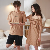 Pajamas / housewear set lovers Other / other Male + Female (size message service), female + male (size message service), can be bought separately cotton Short sleeve Simplicity Leisure home summer Thin money Crew neck Solid color shorts Socket youth 2 pieces rubber string More than 95% pure cotton