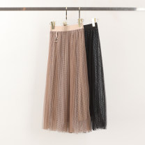 skirt Spring 2021 Average size Black, brown Mid length dress commute High waist Pleated skirt Type A 416-0107 More than 95% Yiwuqi polyester fiber