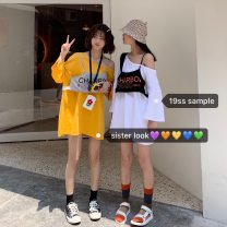 T-shirt White, yellow Average size Summer 2021 commute cotton 96% and above 18-24 years old Other / other