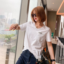 T-shirt white Average size Spring 2021 Short sleeve V-neck Straight cylinder Regular routine commute other 51% (inclusive) - 70% (inclusive) 25-29 years old Korean version youth letter BER866 Printing, patching