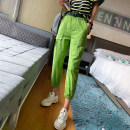 Casual pants Green, white, black 26,27,28,29 Spring 2021 Ninth pants Haren pants Natural waist commute routine 25-29 years old 51% (inclusive) - 70% (inclusive) spread other Korean version pocket