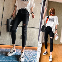 Jeans Spring 2021 black S,M,L,XL Ninth pants Natural waist Pencil pants routine 25-29 years old Wash, zipper, button, multi pocket, scratch Dark color NJ2079