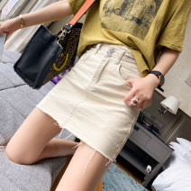 skirt Spring 2021 S,M,L,XL Black, beige Short skirt commute Natural waist other Solid color Type H 25-29 years old JJ625 - one other spread Pocket, zipper Korean version