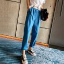 Casual pants Blue, beige M,L,XL Spring 2021 trousers Haren pants High waist commute routine 25-29 years old SXG6006 Korean version pocket