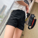 Jeans Spring 2021 black S,M,L,XL shorts High waist Wide legged trousers routine 25-29 years old Wash, zipper, button Dark color
