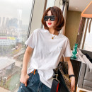 T-shirt white Average size Spring 2021 Short sleeve Crew neck easy Regular routine commute other 51% (inclusive) - 70% (inclusive) 25-29 years old Korean version youth Solid color, stitching Splicing