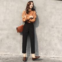 Casual pants Xxk201 black k911 SMLXL2XL Spring of 2018 Ninth pants Straight pants High waist routine 18-24 years old XXK2010 Queegumm / Qugu