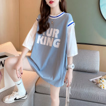T-shirt Black white blue Average size Summer 2020 Short sleeve Crew neck Fake two pieces Medium length routine commute other 96% and above 18-24 years old Korean version originality Color matching of letters Chevensie Print stitching Other 100% Pure e-commerce (online only)