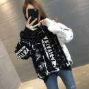 Sweater / sweater Autumn of 2019 Black blue black Plush Blue Plush Average size Long sleeves routine Socket singleton  Plush Hood easy commute routine Cartoon animation 18-24 years old 96% and above Chevensie Korean version other XFX192080 Lace up print stitching thread Other 100% zipper