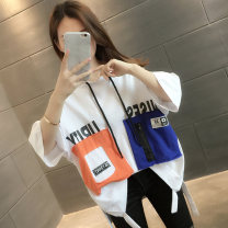 T-shirt Black and white Average size Summer 2021 Short sleeve Hood easy Regular routine commute other 96% and above 18-24 years old Korean version originality letter Chevensie XFX-21167 Printed lace up Other 100% Pure e-commerce (online only)