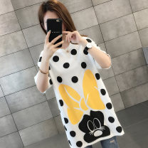 T-shirt Yellow black white Average size Spring of 2019 Short sleeve Crew neck easy Medium length routine commute other 96% and above 18-24 years old Korean version fairy tale Chevensie printing Other 100% Pure e-commerce (online only)
