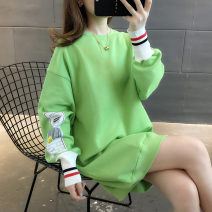 Sweater / sweater Autumn of 2019 Yellow orange red fruit green Average size Long sleeves Medium length Socket singleton  thickening Crew neck Straight cylinder commute routine Cartoon animation 18-24 years old 96% and above Chevensie Korean version other XFX191066 Print stitching Other 100%