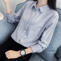 shirt S M L XL XXL Spring 2020 cotton 96% and above Long sleeves commute Regular Polo collar Single row multi button shirt sleeve Solid color 18-24 years old Straight cylinder Yousha Korean version Button Cotton 100% Pure e-commerce (online only)