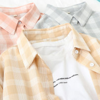 shirt S M L Spring 2020 other 96% and above Long sleeves Sweet Regular Polo collar Single row multi button routine lattice 18-24 years old Straight cylinder Yousha Pocket button Other 100% Exclusive payment of tmall solar system
