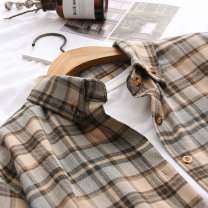 shirt Coffee green S M L XL Spring 2020 cotton 96% and above Long sleeves commute Regular Polo collar Single row multi button routine lattice 18-24 years old Straight cylinder Yousha Korean version Button Cotton 100% Exclusive payment of tmall