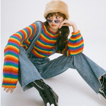 sweater Autumn 2020 Average size Picture color Long sleeves Socket singleton  Regular other 30% and below Crew neck Regular commute routine stripe Self cultivation Heavy wool Anti fouling and anti fouling Socket