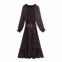 Dress Winter 2020 As shown in the figure XS,S,M,L longuette singleton  Long sleeves commute Crew neck High waist Broken flowers Socket A-line skirt routine Others Type A WHLP Retro printing 11-3114 More than 95% other other