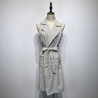 Vest Autumn of 2018 white S M L Medium length tailored collar street stripe Single breasted Other / other other Pocket button