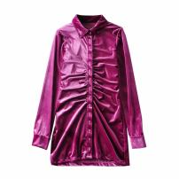 Dress Spring 2021 Black, rose purple S,M,L Short skirt singleton  Long sleeves commute Polo collar High waist Solid color Single breasted A-line skirt routine 25-29 years old Type A WHLP Korean version Button Z-1131 81% (inclusive) - 90% (inclusive) polyester fiber
