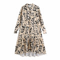 Dress Winter 2020 khaki XS,S,M,L Mid length dress singleton  Long sleeves street Crew neck Loose waist Dot Socket A-line skirt routine Others Type A WHLP Button, print 11-3123 More than 95% other Europe and America