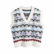 Vest Spring 2021 As shown in the figure S,M,L routine V-neck commute Plants and flowers 11-3265 18-24 years old WHLP 71% (inclusive) - 80% (inclusive) acrylic fibres printing