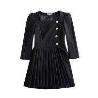 Dress Winter 2020 black XS,S,M,L Short skirt singleton  Long sleeves commute square neck High waist Solid color Socket Pleated skirt routine Others Type A WHLP Korean version Button 35-9316 31% (inclusive) - 50% (inclusive) other