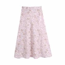 skirt Summer 2021 XS,S,M,L Pink Mid length dress commute High waist A-line skirt Decor Type A 11-1265 51% (inclusive) - 70% (inclusive) other WHLP other printing Retro