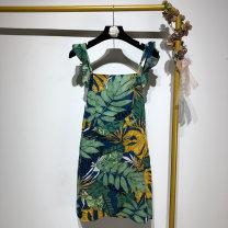 Dress Summer of 2019 green S,M,L Short skirt singleton  Sleeveless street High waist Socket printing 18-8792 Europe and America