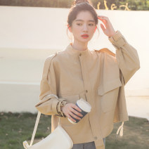 Windbreaker Spring 2021 S M L khaki Long sleeves routine commute zipper stand collar routine Solid color Straight cylinder Korean version Beautiful dream 18-24 years old Pocket button 96% and above other cotton polyester fiber Other 100% Pure e-commerce (online only)