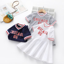 Dress Sapphire blue, gray, white female Other / other 100cm,110cm,120cm,130cm,140cm Other 100% summer college Short sleeve other cotton other Class B 12 months, 18 months, 2 years old, 3 years old, 4 years old, 5 years old, 6 years old Chinese Mainland Guangdong Province Foshan City
