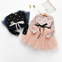 Dress Pink, black female Q-family babe 100cm,110cm,120cm,130cm,140cm Other 100% spring and autumn Korean version Long sleeves Dot cotton other Class B 2 years old, 3 years old, 4 years old, 5 years old, 6 years old, 7 years old