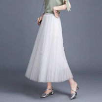skirt Winter of 2019 M L Mid length dress commute High waist Pleated skirt Solid color Type A 18-24 years old More than 95% QV (clothing) polyester fiber Ol style Polyethylene terephthalate (polyester) 100% Pure e-commerce (online only)