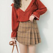 skirt Autumn of 2018 S M L Khaki grey Short skirt Versatile Pleated skirt lattice Type A 18-24 years old Other / other zipper