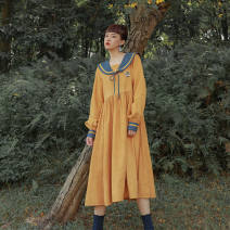 Dress Autumn 2020 yellow S,M,L,XL longuette singleton  Long sleeves Sweet Admiral Solid color A-line skirt shirt sleeve Others Embroidery, stitching other solar system