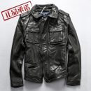 leather clothing HJUNZ Fashion City black M,L,XL,2XL,3XL have cash less than that is registered in the accounts Leather clothes Lapel Slim fit zipper autumn leisure time youth Goat skin American leisure Cloth hem Side seam pocket Multiple pockets No iron treatment Animal pattern