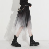 skirt Spring 2021 Average size Black and white Mid length dress commute High waist A-line skirt Type A 25-29 years old More than 95% Qinyou polyester fiber Korean version Polyester 100% Pure e-commerce (online only)