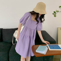 Dress Summer 2020 Purple green S M Short skirt singleton  Short sleeve commute square neck High waist Solid color Socket A-line skirt puff sleeve 18-24 years old Type A Van irzoon / PAN Aizhong Korean version 71% (inclusive) - 80% (inclusive) polyester fiber Polyester 78% cotton 22%